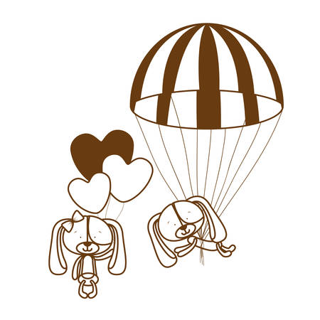 silhouette of couple of cute puppies on parachutes vector illustration design Illusztráció