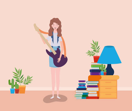 woman playing electric guitar instrument character vector illustration design Illustration
