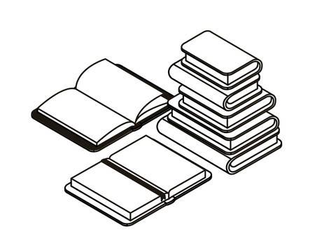 silhouette of stack of books on white background vector illustration design