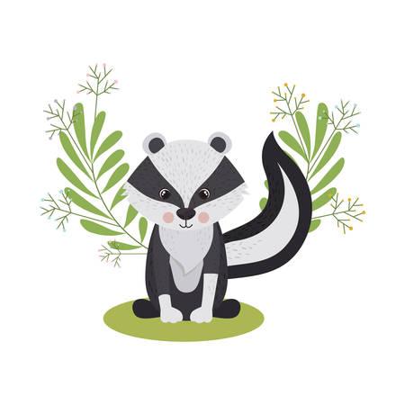 cute and adorable skunk with wreath vector illustration design Иллюстрация