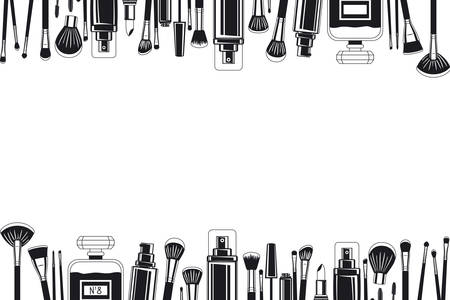 set of make up brushes and products frame vector illustration design Фото со стока - 129863375