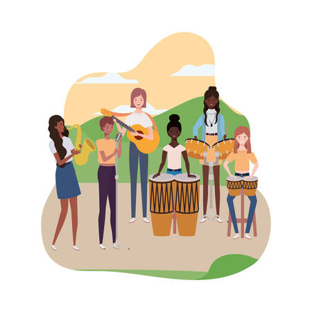 women with musical instruments and background landscape vector illustration design 向量圖像