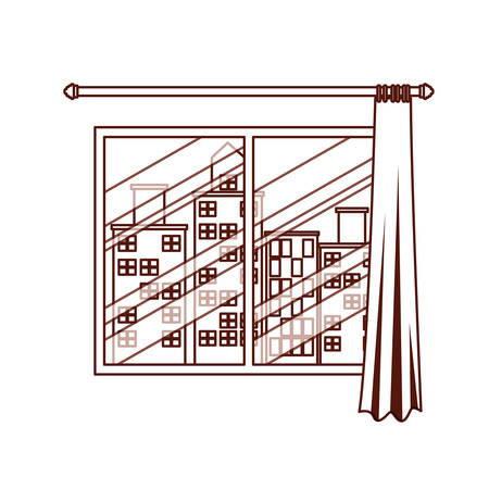 window with courtain and cityscape view vector illustration design