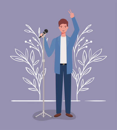 woman singing with microphone character vector illustration design 向量圖像