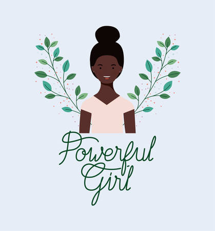 beautiful afro girl with wreath leafs frame vector illustration design