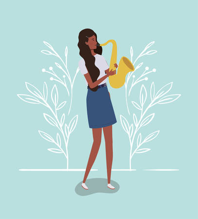 afro woman playing saxophone character vector illustration design