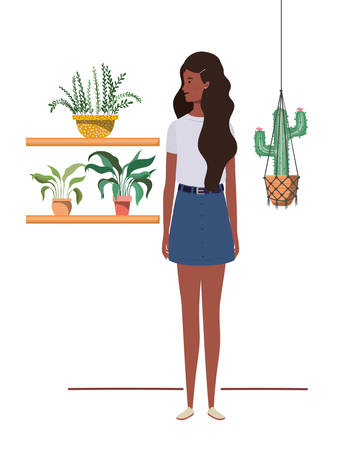 woman with houseplant and macrame hangers vector illustration design