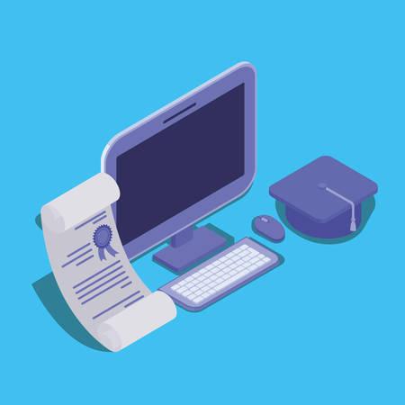 online education technology with desktop vector illustration design