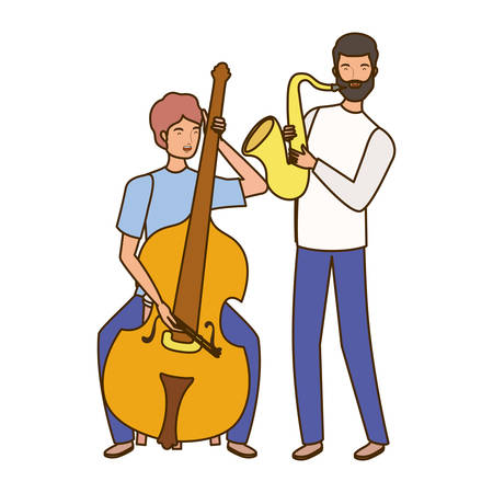 men with musicals instruments on white background vector illustration design Illustration