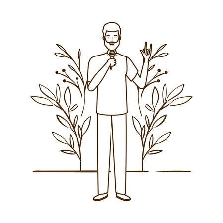silhouette of man with microphone and branches and leaves in the background vector illustration design