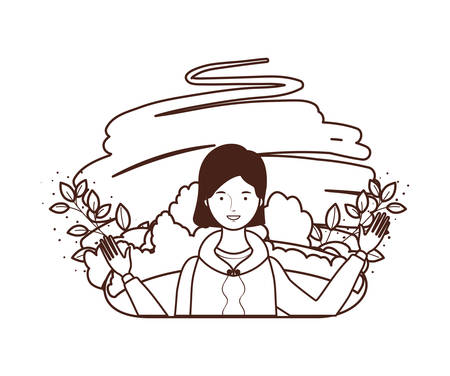 silhouette of young woman with landscape background vector illustration design Ilustrace