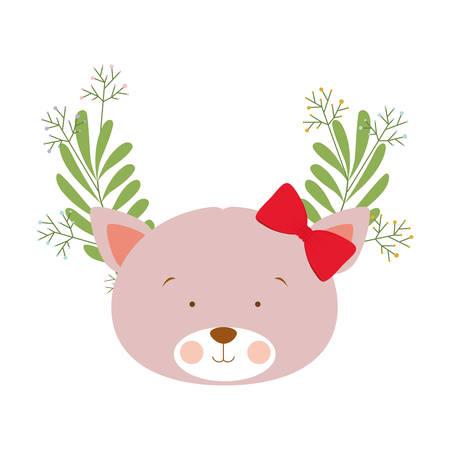 head of cute cat with background garland vector illustration design vector illustration design Иллюстрация