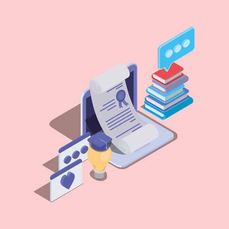 online education technology with laptop vector illustration design 일러스트