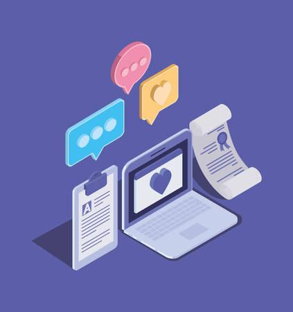 online education technology with laptop vector illustration design Illusztráció
