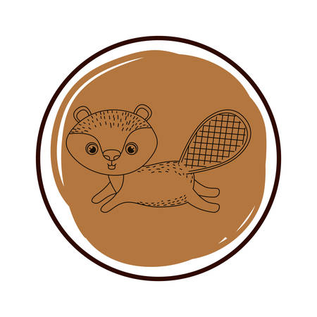 cute and adorable chipmunk with frame vector illustration design Çizim