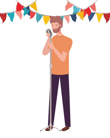 young man with microphone on white background vector illustration design