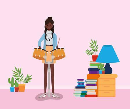 afro woman playing timpani character vector illustration design Illusztráció