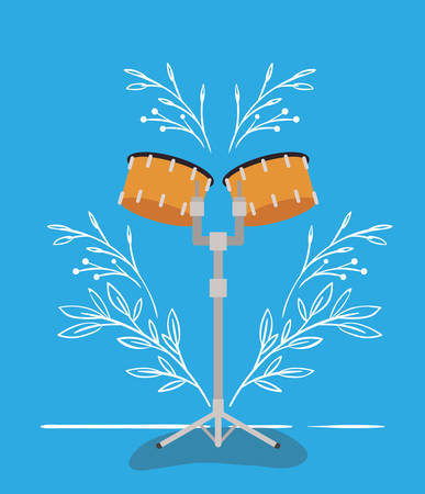 timpani drums instrument musical icon vector illustration design