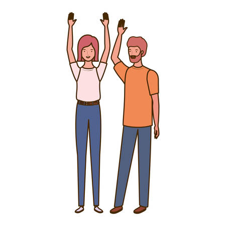 couple of people standing on white background vector illustration design