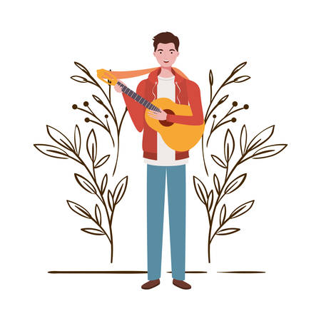 man with acoustic guitar and branches and leaves in the background vector illustration design