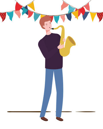 young man with saxophone on white background vector illustration design 向量圖像