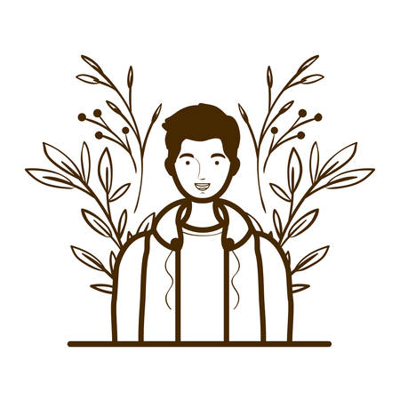 silhouette of man with landscape of branches and leaves of background vector illustration design