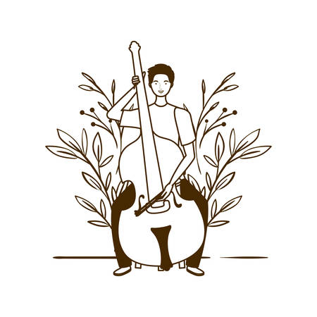 silhouette of man with fiddle and branches and leaves in the background vector illustration design