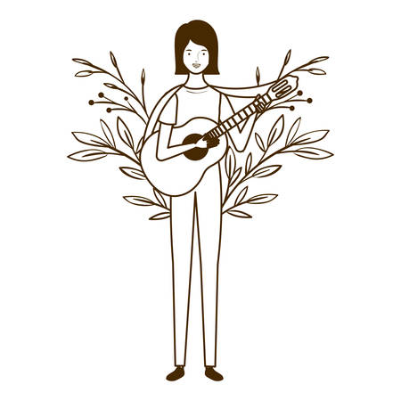 silhouette of woman with acoustic guitar on white background vector illustration design Stockfoto - 129863588