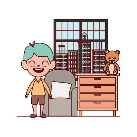 cute little boy baby in the living room with stuffed toy vector illustration design