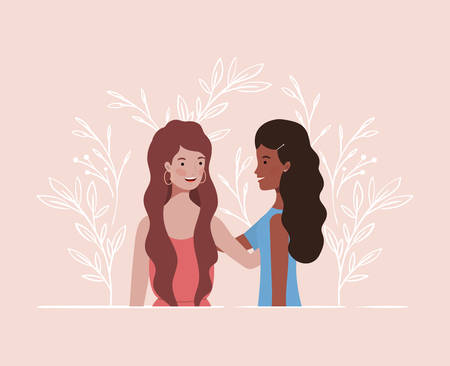 young and beautiful girls characters vector illustration design