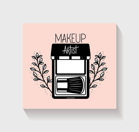 eye shadows make up in floral frame vector illustration design Ilustrace