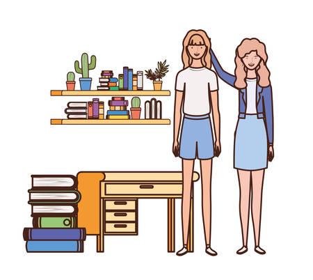 women standing with bookshelf of wooden and books vector illustration design Illustration