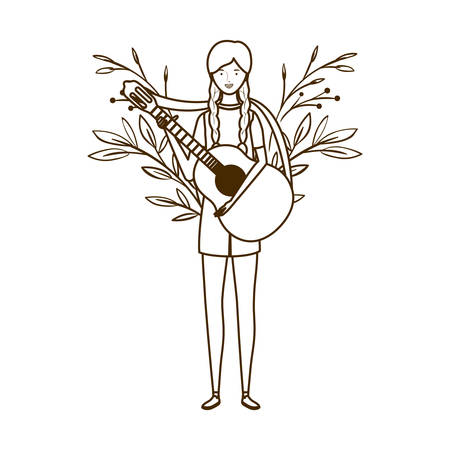 silhouette of woman with acoustic guitar on white background vector illustration design Stockfoto - 129863610