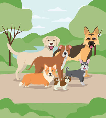group of dogs pets in the camp characters vector illustration design Иллюстрация