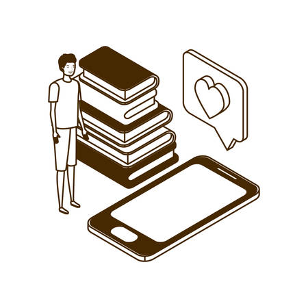 man with smartphone screen and stack books on white background vector illustration design