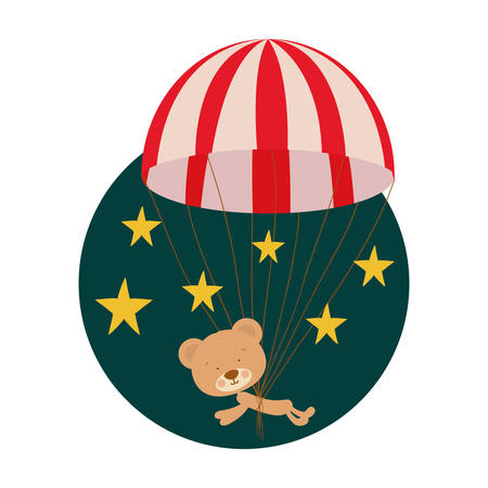 cute bear parachute with background stars vector illustration design