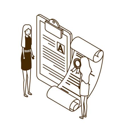 women with graduation certificate in white backgro vector illustration desing Illusztráció