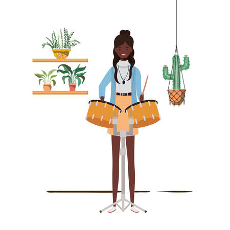 woman with timpani and houseplants on macrame hangers of background vector illustration design
