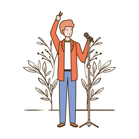 man with microphone and branches and leaves in the background vector illustration design Illustration
