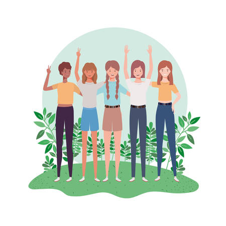 young women standing with landscape background vector illustration design