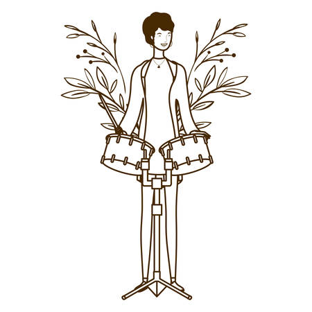 silhouette of woman with timpani on white background vector illustration design Stockfoto - 129864005