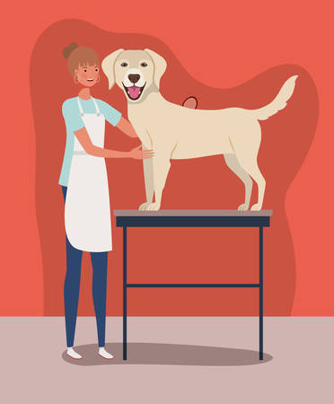 cute labrador retriever dog care salon with girl vector illustration design