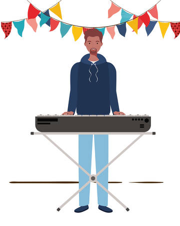 young man with piano keyboard on white background vector illustration design