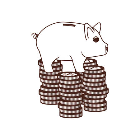 silhouette of money savings and pig on white background vector illustration design Zdjęcie Seryjne - 129826681