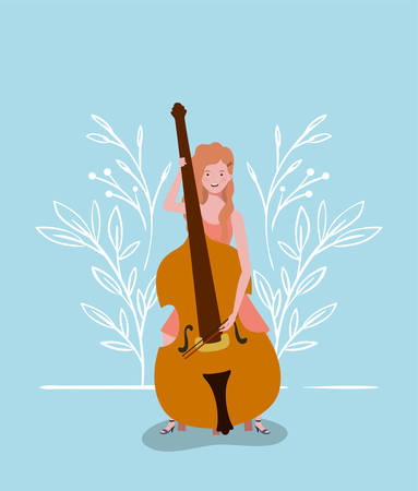 woman playing cello instrument character vector illustration design Фото со стока - 129826702