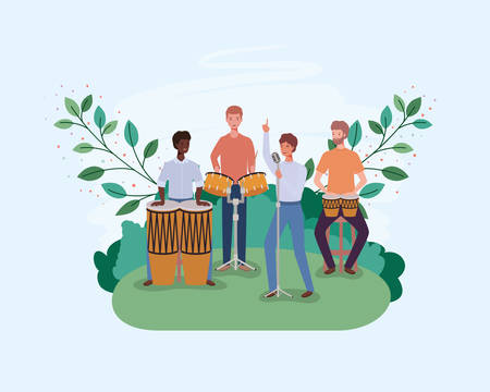 group of men playing instruments in the camp vector illustration design 向量圖像