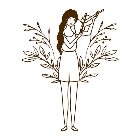 silhouette of woman with fiddle on white background vector illustration design Фото со стока - 129864496