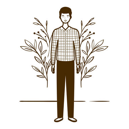 silhouette of man standing with landscape background vector illustration design Ilustrace