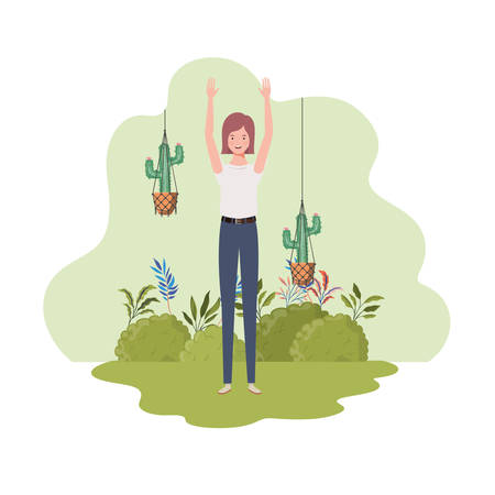 woman with macrame hangers and background landscape vector illustration design Ilustracja