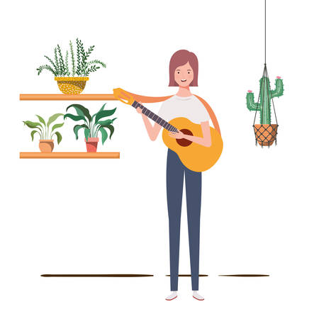 woman with acoustic guitar and houseplants on macrame hangers of background vector illustration design 向量圖像